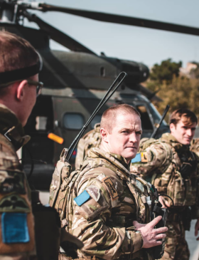 Members of 2 Para on a briefing with RAF Puma detachment Op Toral