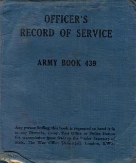 Officers Record of Service Army Book 439 for FG Tansley