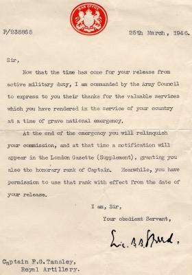 Release Letter for FG Tansley