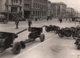 Six Pounder Anti Tank guns in Athens, Greece, Nov 1944.