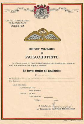 Stuart Hancock German Parachute Jump certificate