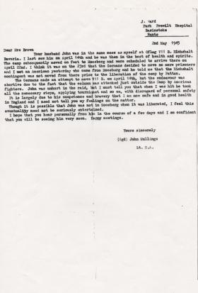 Letter to wife of Capt john Brown May 1945