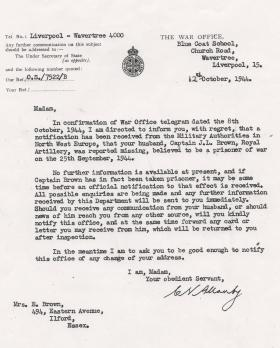 Letter from war office to Mrs E Brown, wife of Capt John Brown Oct 1944