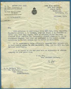 War Office Notification 22 Jun 1945