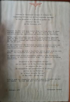 Certificate Presented to Joe Lee by Lt Col PS Field MC
