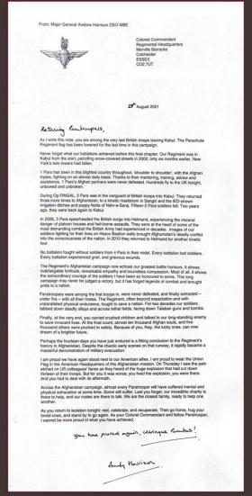 Maj Gen A Harrison Letter 28 Aug 2021 Op Pitting