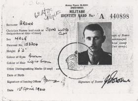 Military Identity Card Capt JL Brown