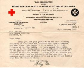 Letters of Ronald Brooker whilst he was a POW