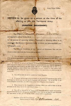Army Documents of Ronald Brooker