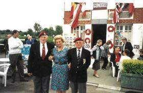 TW Huntbach, Lance Rooke and Arlette Gondree outside Cafe Gondree C2004