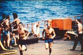 2 PARA heading south, Falklands, May 1982.