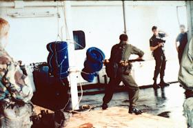 2 PARA, Bayonet training, MV Norland, May 1982.