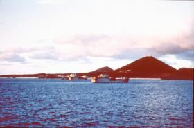 Part of the 'Task Force' anchored off Ascension Island, May 1982.