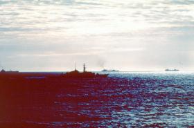 The 'Task Force' sailing south, May 1982.