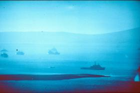 Part of the 'Task Force' in San Carlos Water, May 1982.