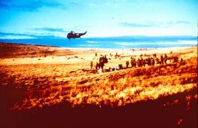 Final stages of battle outside Port Stanley. Falklands, 1982.
