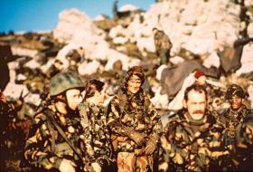 Paras outside Port Stanley, Operation Corporate, Falklands, 1982.