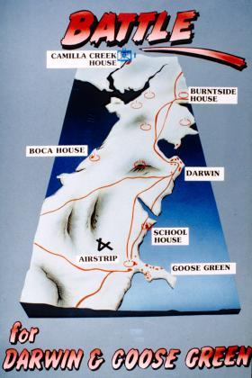 Diagrams illustrating 2 PARA advance during the Battle for Goose Green, 1982.
