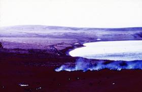The Gorse Gully, Darwin Hill and Darwin Bay, near Goose Green, 29 May 1982.