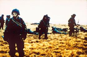 D Coy, 2 PARA, at the Battle for Goose Green, near Boca House, 28 May 1982.