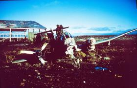 Wrecked Argentine Pucara aircraft, Goose Green, 29 May 1982.
