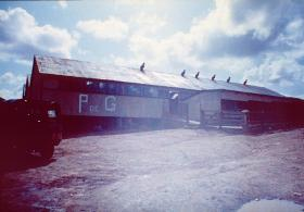 Sheep sheds at Goose Green used for Argentine PoWs, 29 May 1982.