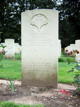 Headstone of Pte P Hast, Oosterbeek War Cemetery, July 2014.