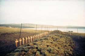 Temporary burial site for the majority of 3 PARA, Teal Inlet, Falklands, 1982.