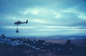 Gazelle helicopter bringing in supplies, Falkland Islands, cMay-June 1982.