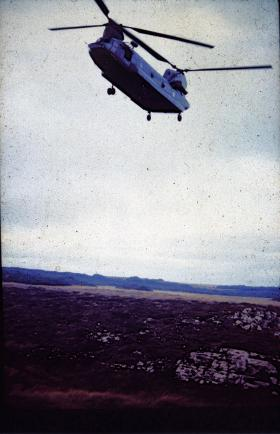 Chinook on Operation Corporate, Falklands, 1982.