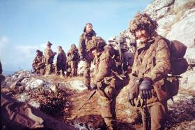 Members of 3 PARA's Anti-Tank Platoon and  Machine Guns move off Mount Longdon, 14 June 1982.