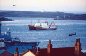 Gazelle helicopter at Stanley Harbour, June 1982.
