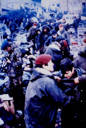 A Coy 2 PARA searching Argentine PoWs before repatriation back home, Port Stanley, June 1982.