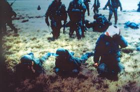D Coy, 2 PARA, with Argentine prisoners at Battle for Goose Green, near Boca House, 28 May 1982.