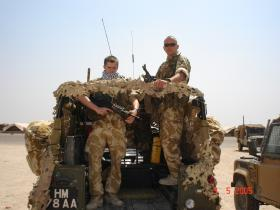 Pte Paul Muller on top cover Iraq, 2005