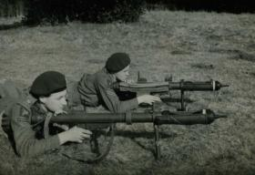 Lt Norman Field demonstrating the PIAT 1942