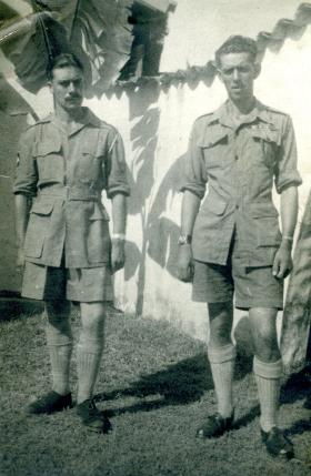 CSM Dent with Cpt Dennis Rendell in the Far East, 1945