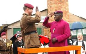 The Archbishop of York receives a Maroon Beret to honour his work in supporting the Afghanistan Trust, Eden Camp, 2010