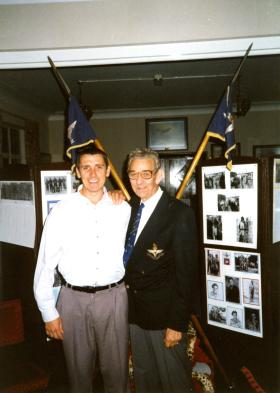 Gaz Winter and Ted Dent at the 2 PARA WOs and Sgts Mess, Aldershot, 22 July 1999