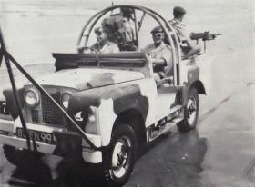Men of 1 Para onboard a Land Rover, Aden, 1967