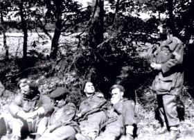 Members of the 12th Para Bn rest prior to final dash to the Baltic, April 1945.