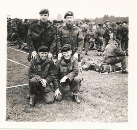 Members of 1 Assault Pioneer Platoon, S Coy, 17th Bn before a Battalion drop, 1957