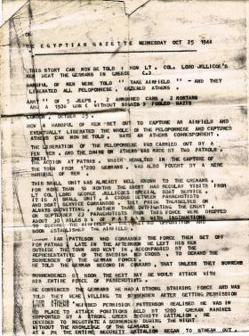 The Egyptian Gazette news report on L Detachment, SBS, in Greece, 25 October 1944.