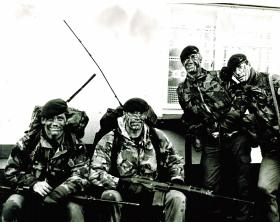Members of A Coy, 1 PARA, Spearhead Tour, Northern Ireland, c1982.