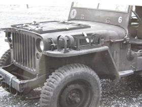 Detail view of bonnet top ammunition holders and stowage holders on wing for Airborne jeep, c.1944
