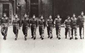 10 members of 1st Para Bn after receiving MMs at Buckingham Palace, 28 March 1944
