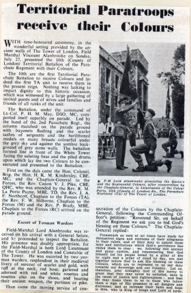 Newspaper article on presentation of Colours to 10 PARA, 1952.