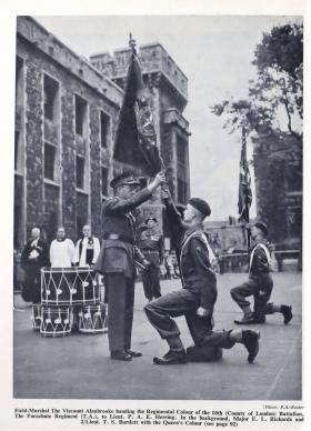 Field Marshal Alanbrooke presents the Regimental Colour to 10 PARA, Tower of London 1952.