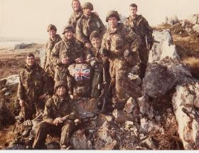 Soldiers of Support Company HQ on the north spur of Wireless Ridge on the official cease-fire, 14 June 1982.