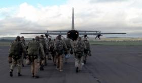 Pathfinders walking out to a C130 Hercules prior to jumping on Joint Warrior, Scotland, 2012.